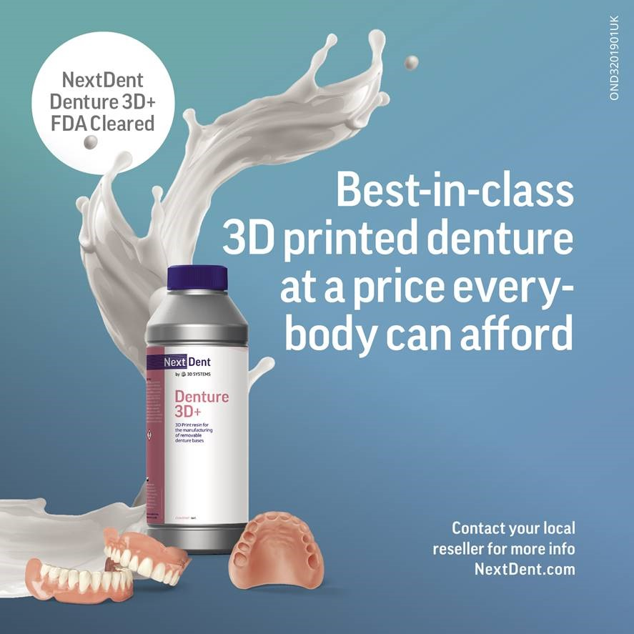 3D Systems Expands its Industry-Leading Portfolio of Dental Materials with Newly FDA-Cleared NextDent Denture 3D Plus